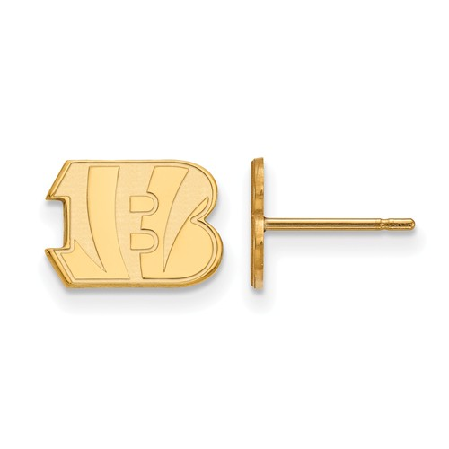 14k Yellow Gold Cincinnati Bengals Extra Small Logo Earrings