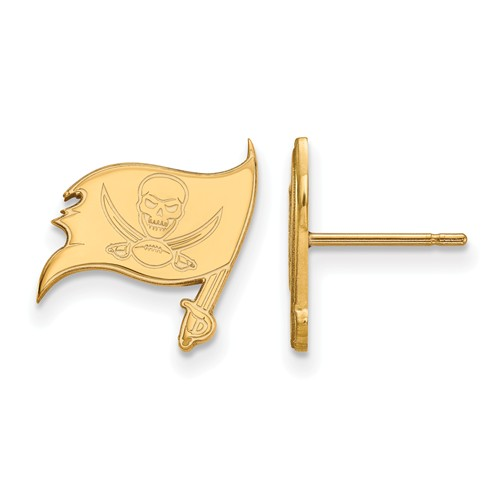 10k Yellow Gold Tampa Bay Buccaneers Extra Small Logo Earrings