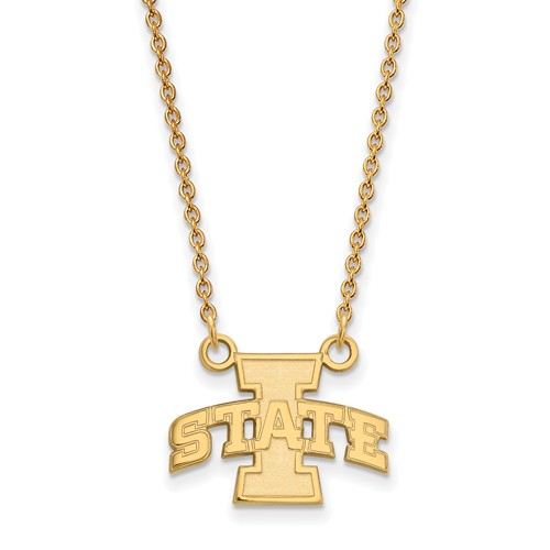 Iowa State University 1/2in Pendant on Necklace 14k Yellow Gold