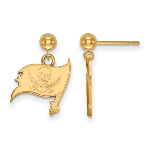 14k Yellow Gold Tampa Bay Buccaneers Dangle Ball Earrings