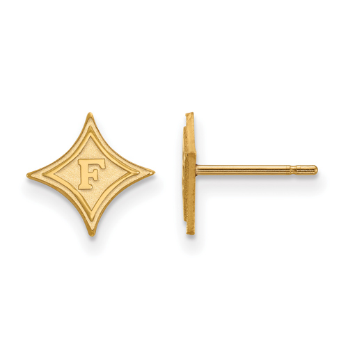 14k Yellow Gold Furman University Extra Small Stud Earrings