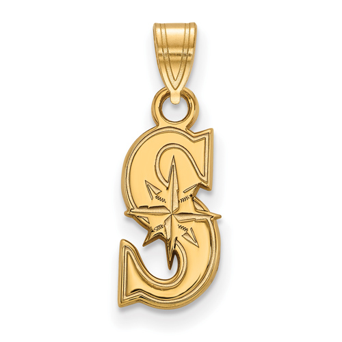 10k Yellow Gold 1/2in Seattle Mariners S Pendant