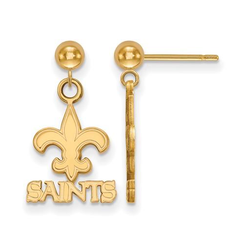 14k Yellow Gold New Orleans Saints Dangle Ball Earrings