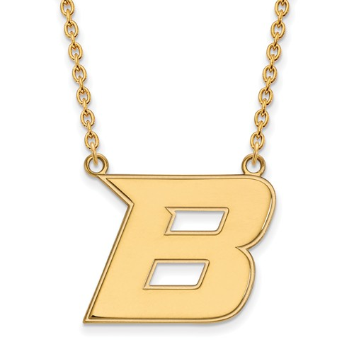 Boise State University B Necklace 3/4in 10k Yellow Gold