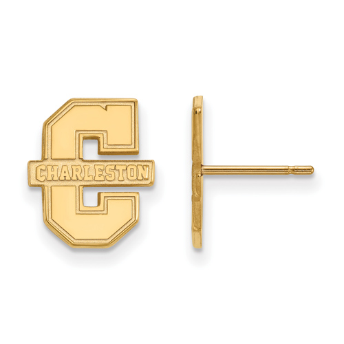 College of Charleston Small Logo Post Earrings 10k Yellow Gold