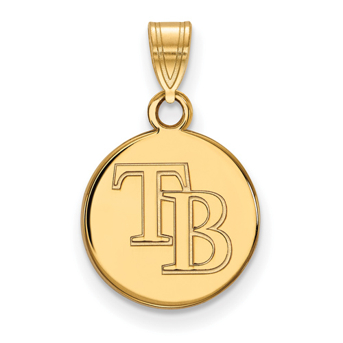 10k Yellow Gold 3/8in Round Tampa Bay Rays Pendant