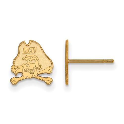 East Carolina University Extra Small Post Earrings 10k Yellow Gold