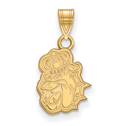 14k Yellow Gold 1/2in James Madison University Bulldog Head Pendant