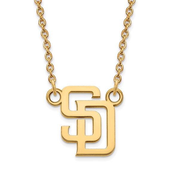 14k Yellow Gold 1/2in San Diego Padres Baseball Pendant 18in Chain