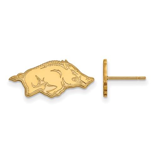 10k Yellow Gold University of Arkansas Extra Small Logo Earrings