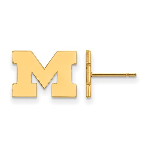 14kt Yellow Gold University of Michigan Extra Small Post Earrings