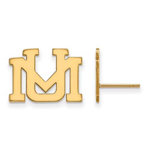 University of Montana UM Post Earrings 10k Yellow Gold