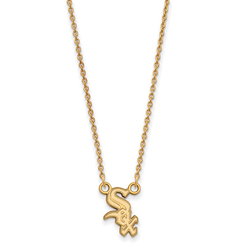 10kt Yellow Gold 1/2in Chicago White Sox Logo Pendant on 18in Chain