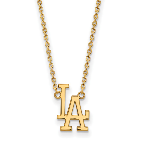 14k Yellow Gold Los Angeles Dodgers LA Pendant on 18in Chain