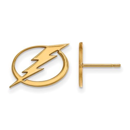 14k Yellow Gold Tampa Bay Lightning Post Earrings