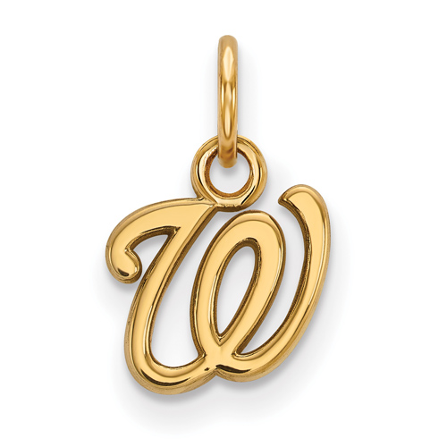 14k Yellow Gold 3/8in Washington Nationals W Pendant