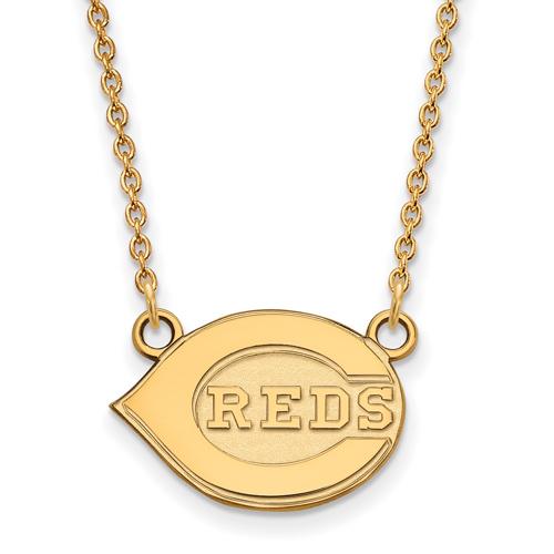 10k Yellow Gold Cincinnati Reds Logo Pendant on 18in Chain