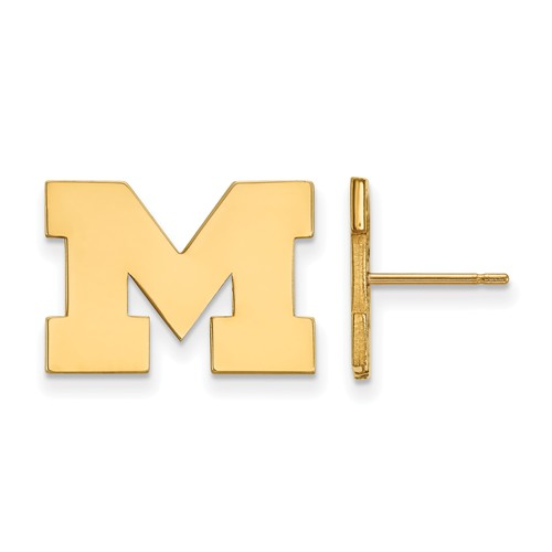 14kt Yellow Gold University of Michigan M Small Post Earrings