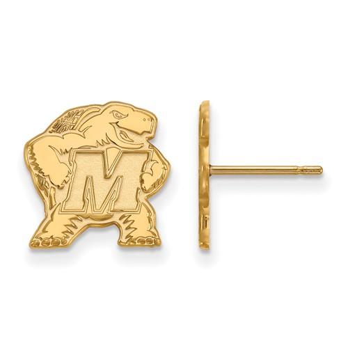 14k Yellow Gold University of Maryland Terrapin Post Earrings