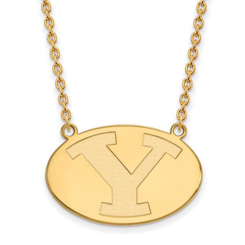 Brigham Young University Oval Necklace 3/4in 10k Yellow Gold