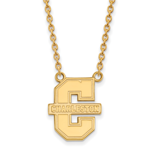 College of Charleston Logo Necklace 3/4in 10k Yellow Gold