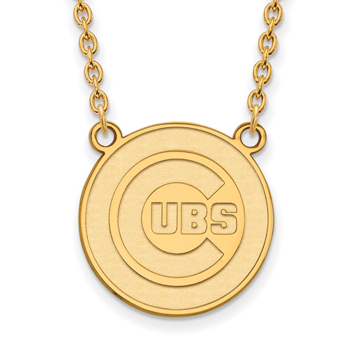 10kt Yellow Gold Chicago Cubs Round Logo Pendant on 18in Chain