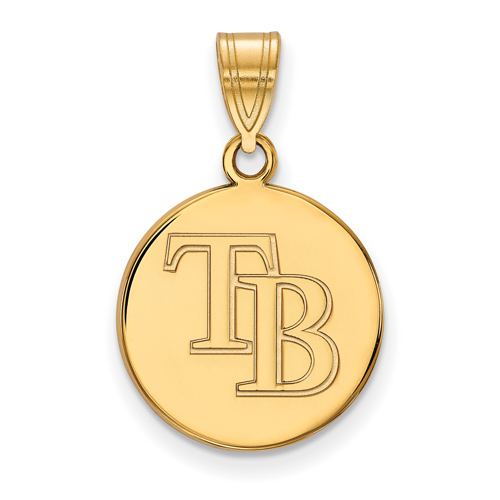 10k Yellow Gold 5/8in Round Tampa Bay Rays Pendant
