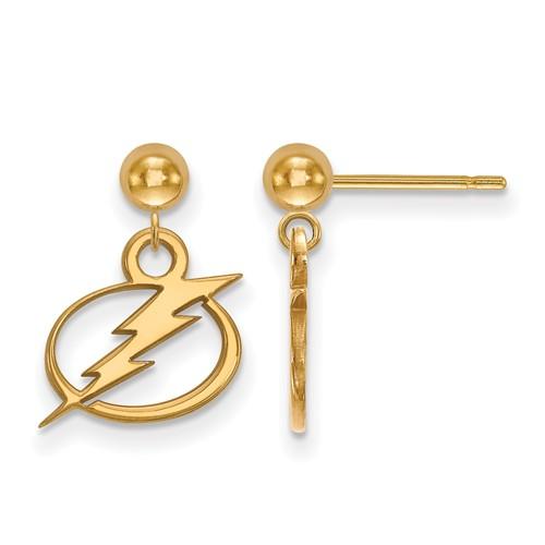 14k Yellow Gold Tampa Bay Lightning Dangle Ball Earrings