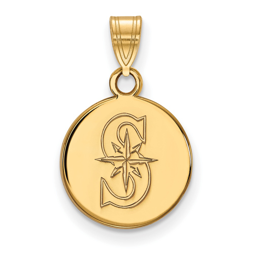 10k Yellow Gold 1/2in Seattle Mariners S Round Pendant