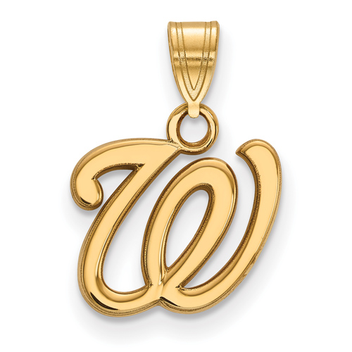 10k Yellow Gold 1/2in Washington Nationals Baseball Pendant
