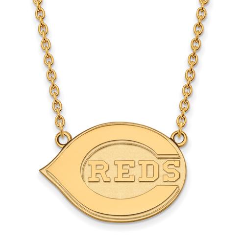 10k Yellow Gold Cincinnati Reds Pendant on 18in Chain