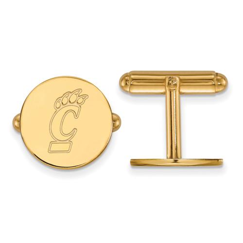 14k Yellow Gold University Of Cincinnati Round Cuff Links