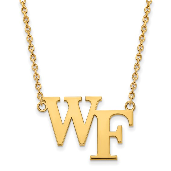 Wake Forest University WF Necklace 3/4in 10k Yellow Gold