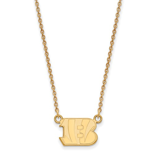 10k Yellow Gold Small Cincinnati Bengals Pendant with 18in Chain