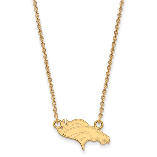 10k Yellow Gold Small Denver Broncos Pendant with 18in Chain