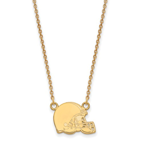 14k Yellow Gold Small Cleveland Browns Pendant with 18in Chain