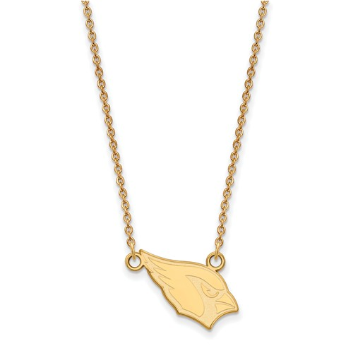 14k Yellow Gold Small Arizona Cardinals Pendant with 18in Chain