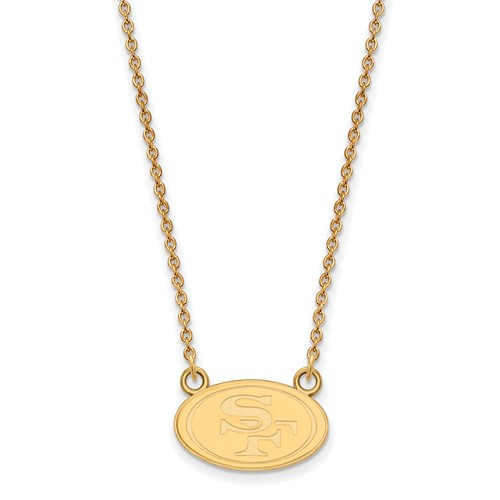 14k Yellow Gold Small San Francisco 49ers Pendant with 18in Chain