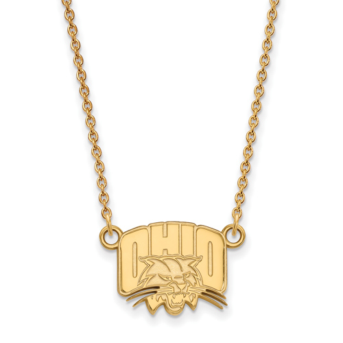 Ohio University Logo Necklace 1/2in 14k Yellow Gold