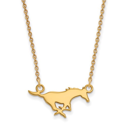 Southern Methodist University Logo Necklace 3/4in 14k Yellow Gold