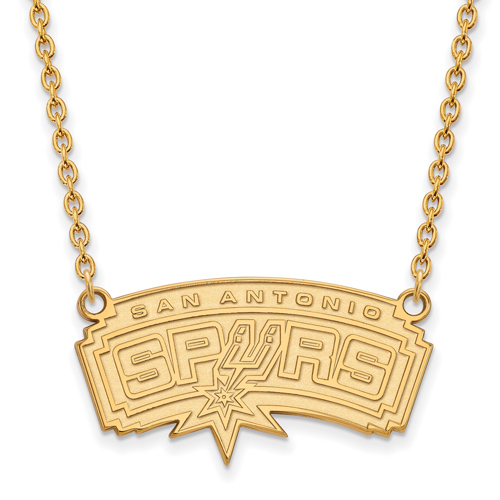 10kt Yellow Gold San Antonio Spurs Pendant on 18in Chain