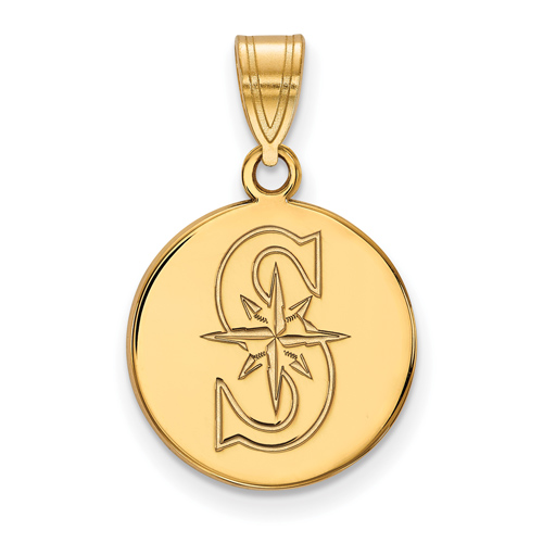 10k Yellow Gold 5/8in Round Seattle Mariners S Pendant