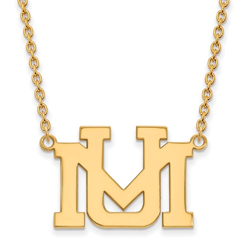 University of Montana UM Necklace 3/4in 14k Yellow Gold