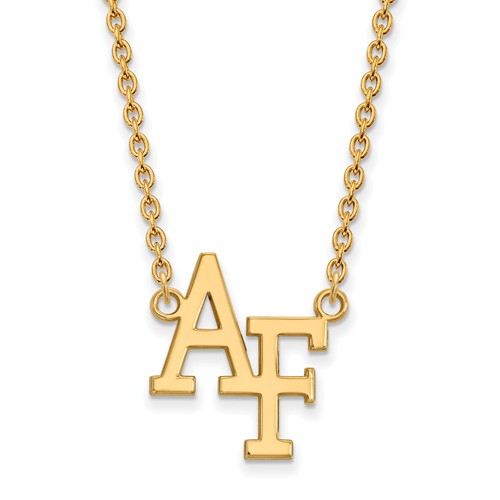 United States Air Force Academy Logo Necklace 3/4in 14k Yellow Gold