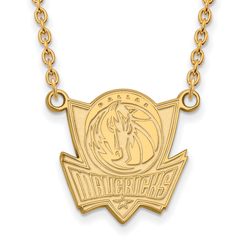 14k Yellow Gold Dallas Mavericks Pendant on 18in Chain