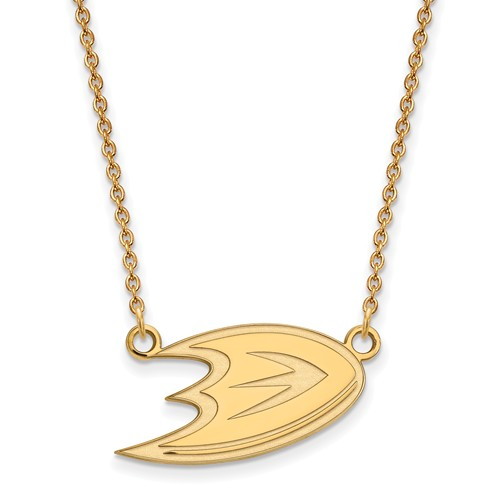 14k Yellow Gold Small Anaheim Ducks Pendant with 18in Chain