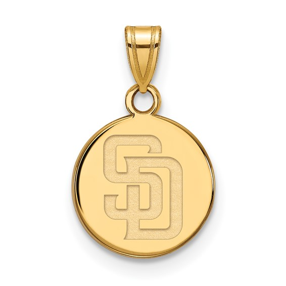 10k Yellow Gold 1/2in San Diego Padres Round Pendant