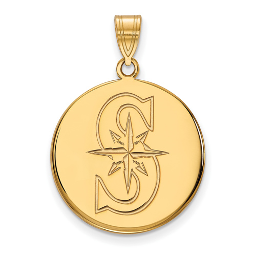 14k Yellow Gold 3/4in Round Seattle Mariners S Pendant