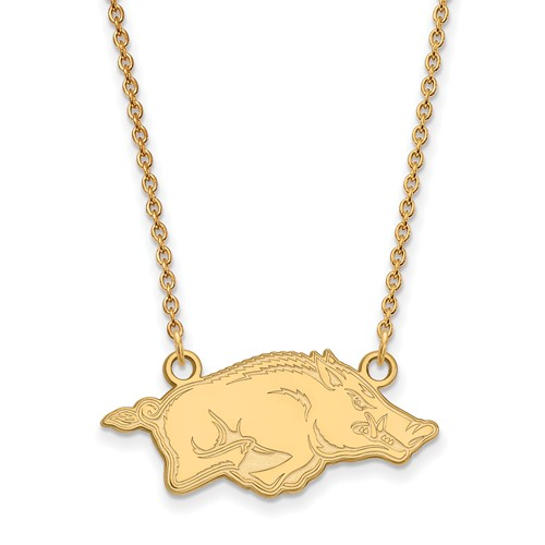 14k Yellow Gold Small University of Arkansas Pendant with 18in Chain