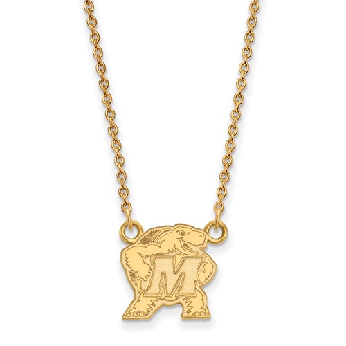 14k Yellow Gold Small University of Maryland Pendant with 18in Chain